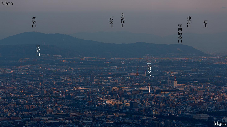 金毘羅山から和泉山脈東部、生駒山、京都タワーを望む 2014年5月  金毘羅山から和泉山脈東部、