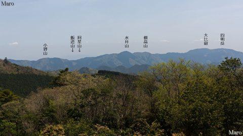 旧花脊峠~芹生峠 京都市左京区・右京区境尾根から比叡山を望む 2016年4月